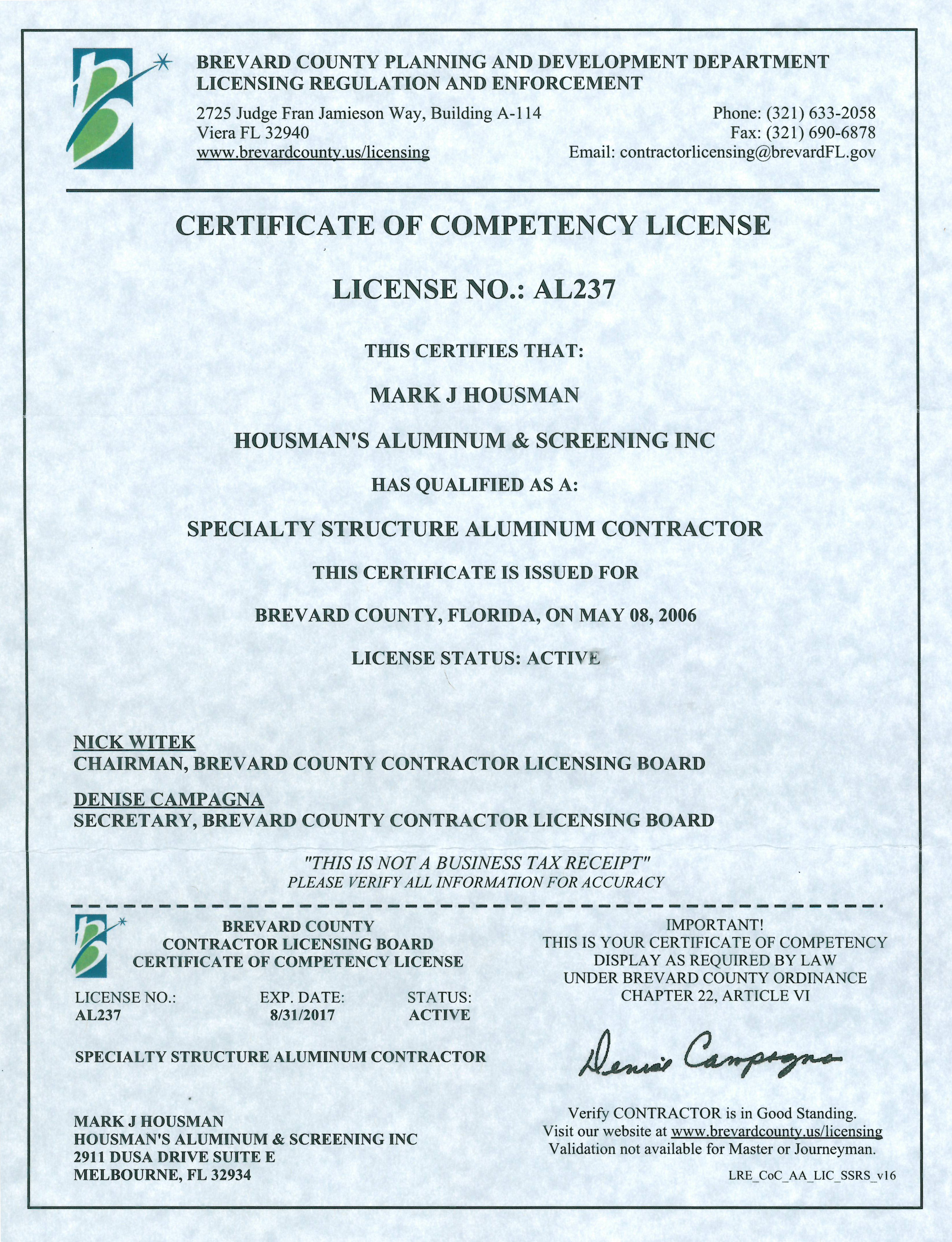 Certificate Of Competency Palm Beach County